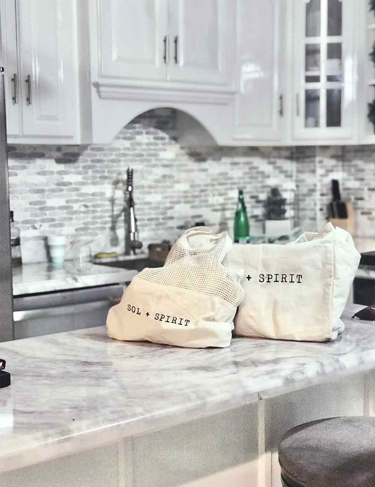 reusable shopping bags in kitchen sling and tote bag