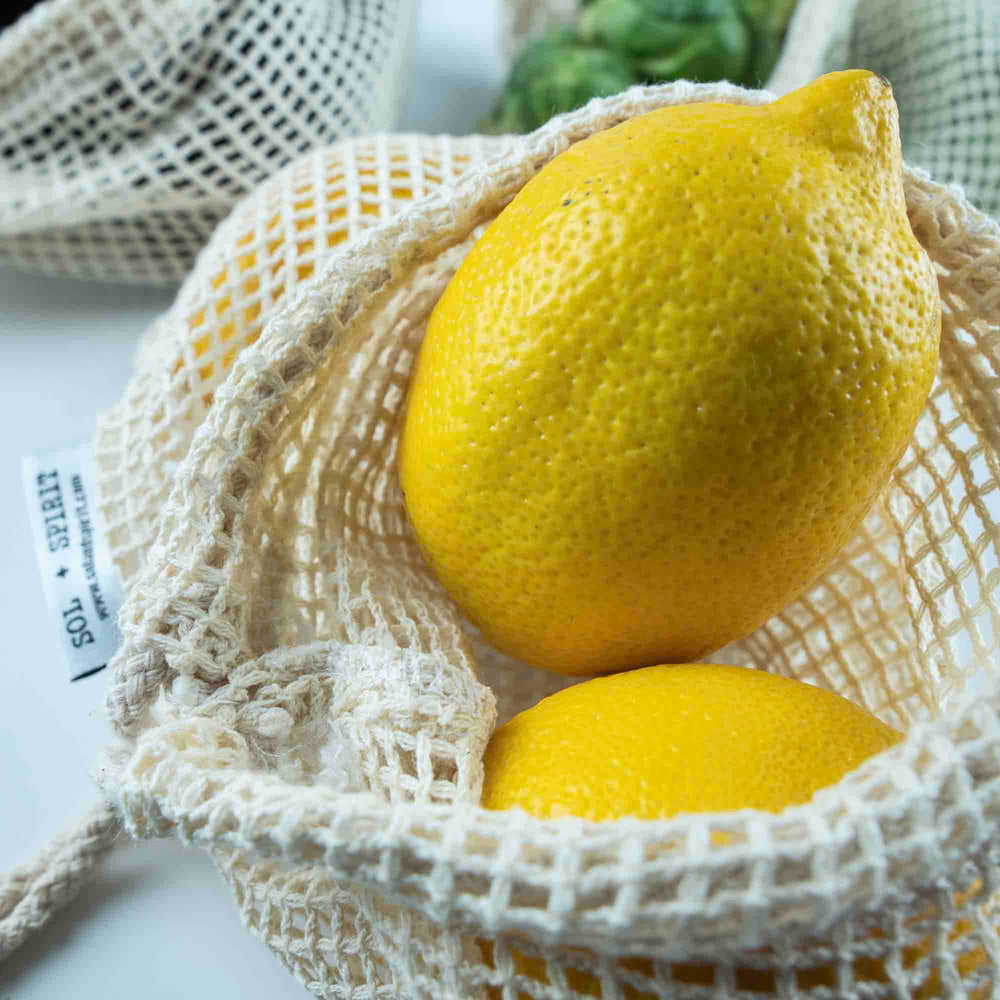 reusable cotton produce bag with lemons