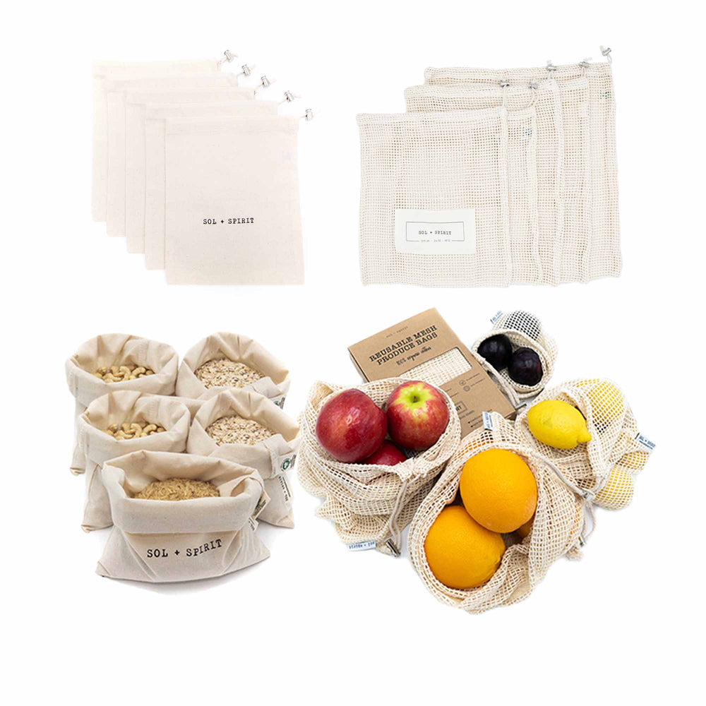 reusable mesh produce bags and bulk food bags