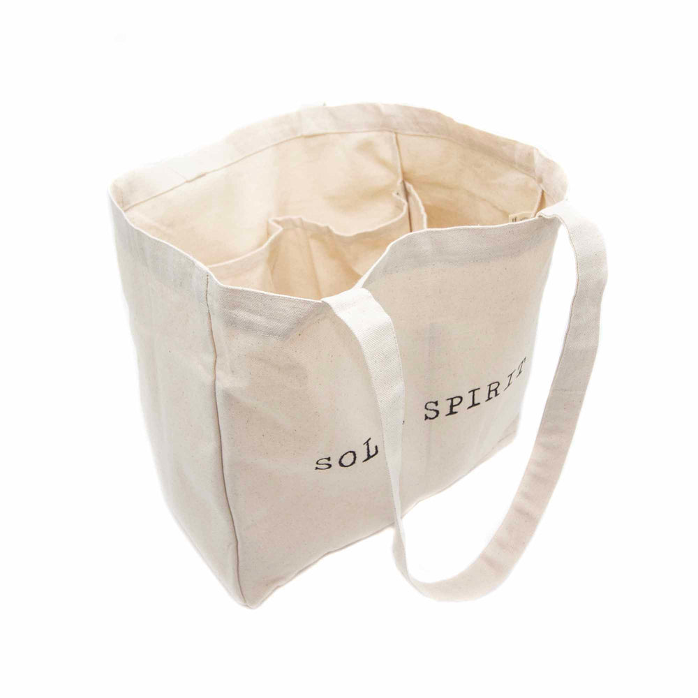 organic cotton tote bag with pockets front angle view