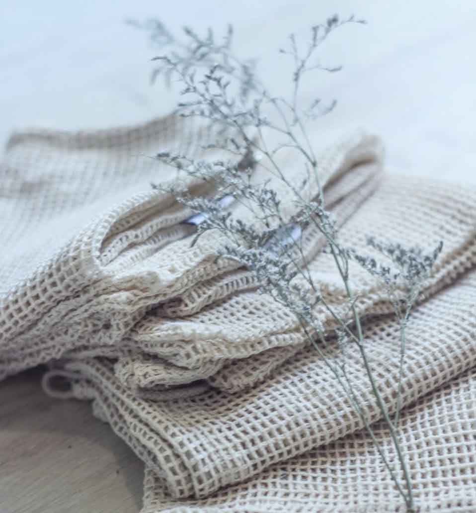 organic cotton bags stacked