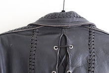 Load image into Gallery viewer, 80's Black Leather Motorcycle Jacket
