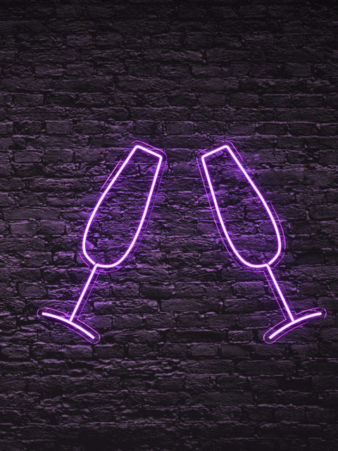 Led Neon Sign ''Glass of Champagne''