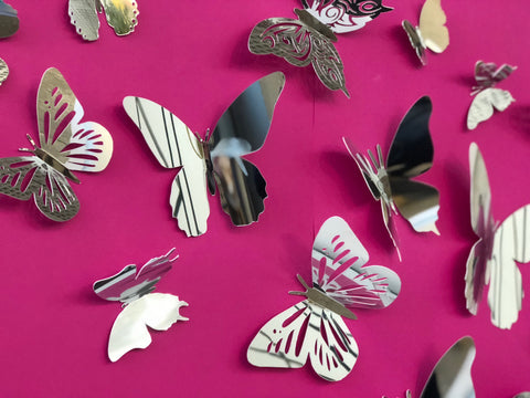 Set Of 20 Mirror Plastic Butterflies - Creative Decor