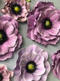 Set of 9 Foam Anemone and Poppy Flowers 7 Leaves - Creative Decor