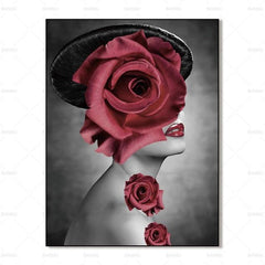 Women Wall Art Women With Rose Over Face-People Art And Canvas Wall Art