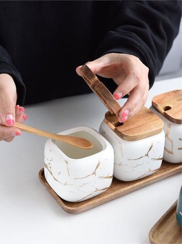 white-spice-jars-marble-nordic-style-wooden-tops-tray-comfort-homes-houseware