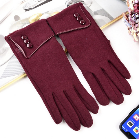 wine-red-women-winter-texting-gloves-for-smartphone-touch screen-devices