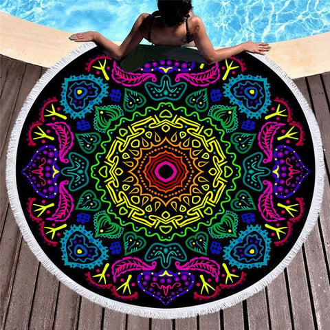 pink-purple-black-bohemian-oversized-round-beach-towel-comfort-homes-houseware