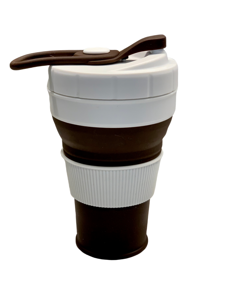 SILICONE COFFEE CUP - BROWN 450ml