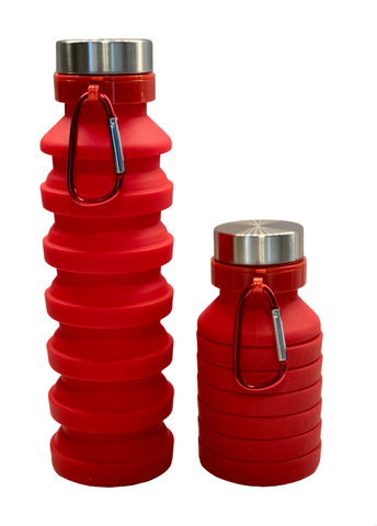 COLLAPSIBLE SILICONE BOTTLE RED