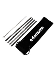 Edamame Matte Black Stainless Steel Straws (4 pack)