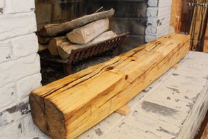 Hand-Hewn Dressed Mantel - Pine with Boiled Linseed Oil #003