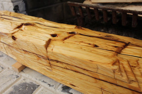 Hand-Hewn Dressed Mantel - Pine with Boiled Linseed Oil #004