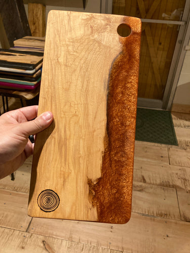 Copper Resin and Figured Maple Cutting Board #1