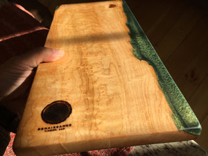Birdseye Maple and Jade Resin Cutting Board 1 - Acadia Collection