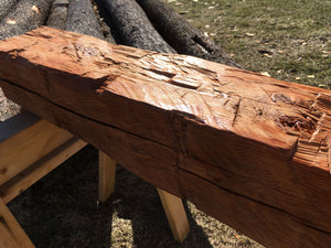 Hand-Hewn Dressed Mantel - White Pine, Mahogany Stain/Poly #008