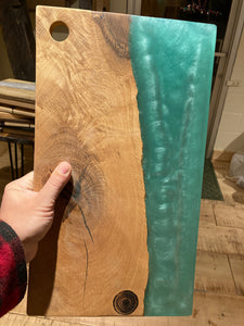 Turquoise Resin and Spalted Oak Charcuterie Board