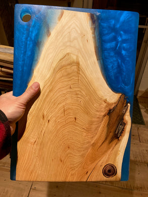 Blue Resin and Cherry Charcuterie Board