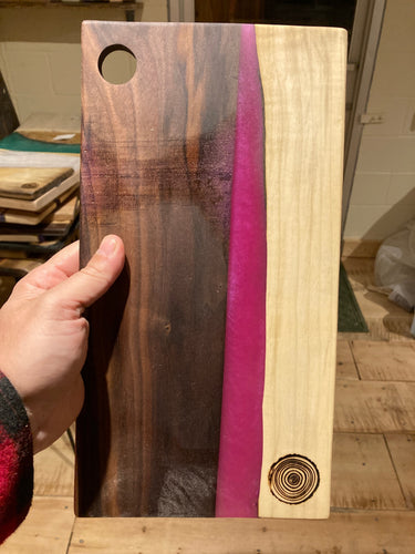 Pink Resin and Walnut Cutting Board