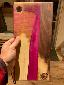 Pink Resin and Walnut Cutting Board #2