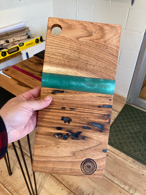 Turquoise Resin and Wormy Butternut Board #1