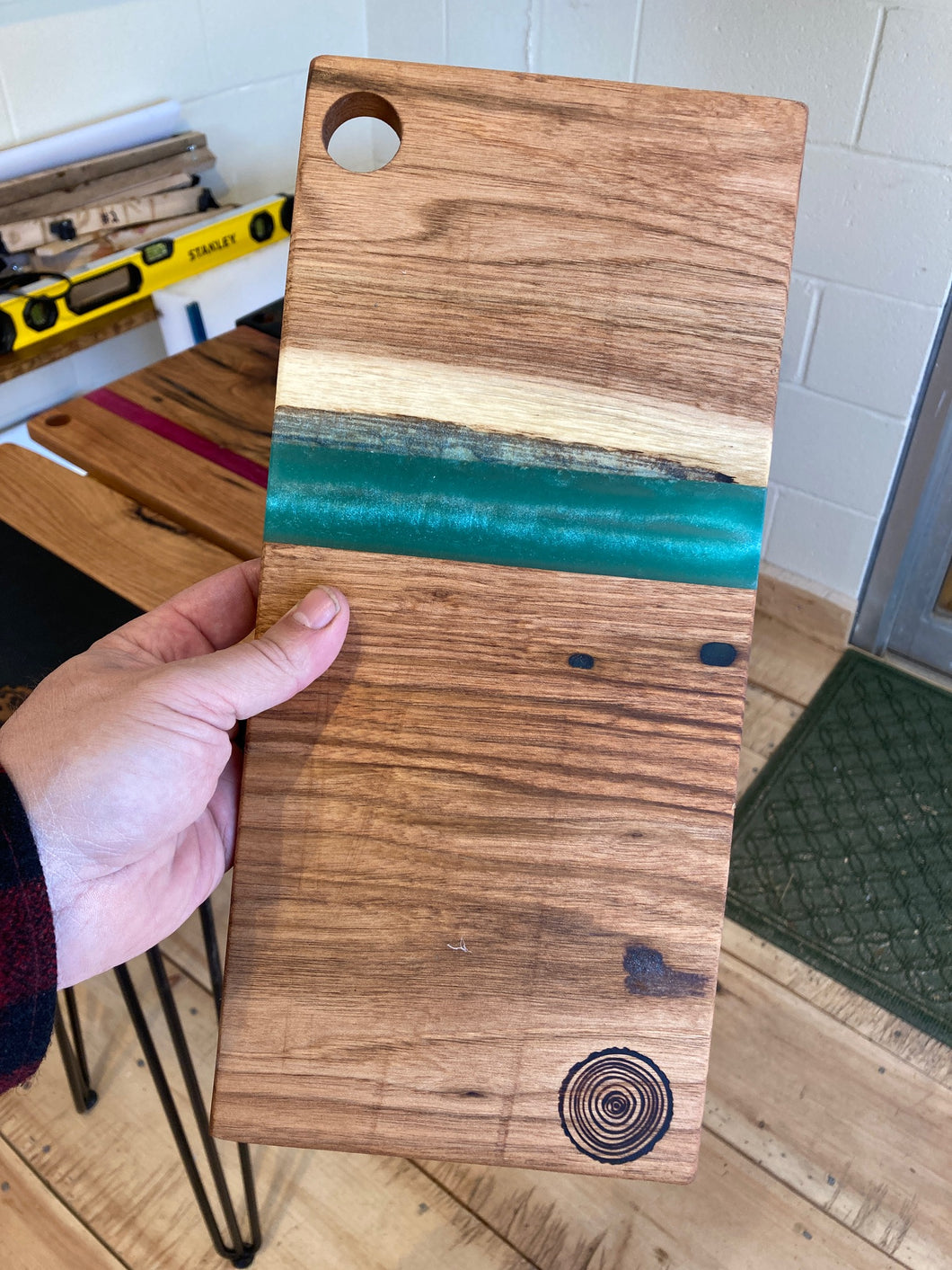 Turquoise Resin and Wormy Butternut Board #2