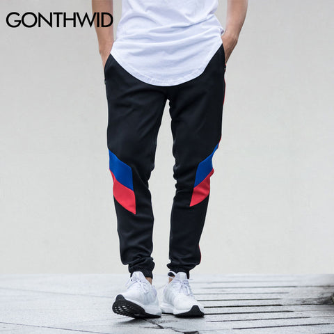 Image of Block Patchwork Stripe Jogger Pants with Zipper Pockets