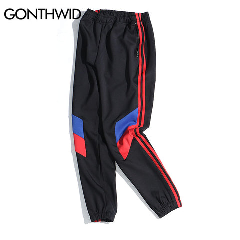 Block Patchwork Stripe Jogger Pants with Zipper Pockets
