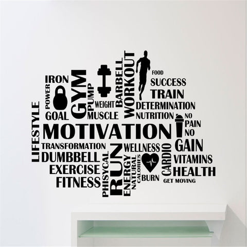 Gym Motivational Fitness Words Vinyl Wall Decal