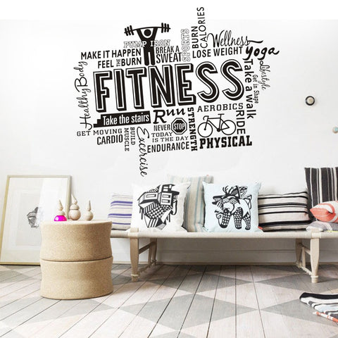 Image of Motivational Fitness Words Wall Decals