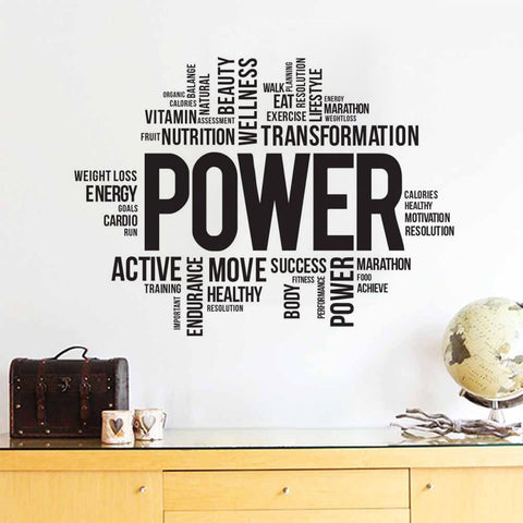 Image of Motivational Fitness Words Wall Sticker