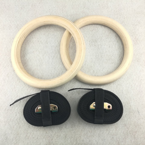 Image of 1 pair Professional Exercise Gymnastics Rings. Wooden 28mm or 30mm.