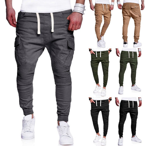 Casual Joggers Pleated Tether Cargo Pants