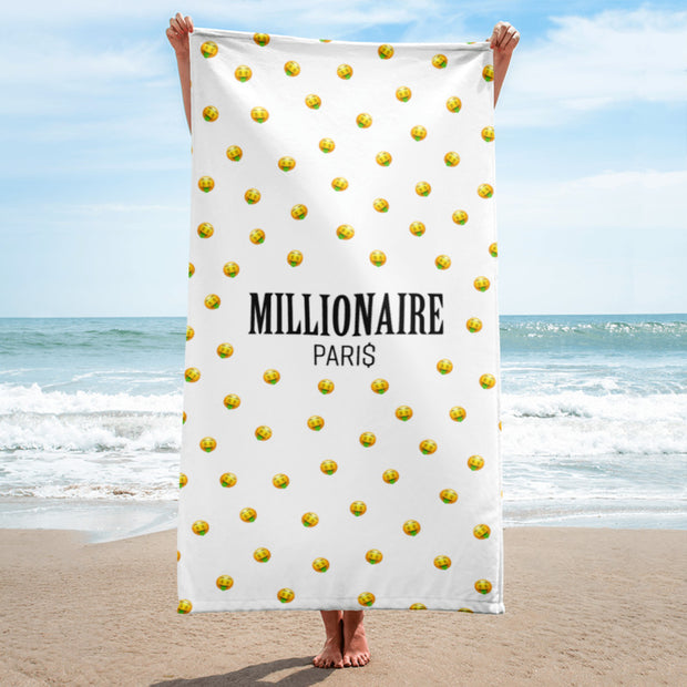 Emoji Money Mouth Face Beach Towel - Millionaire Paris