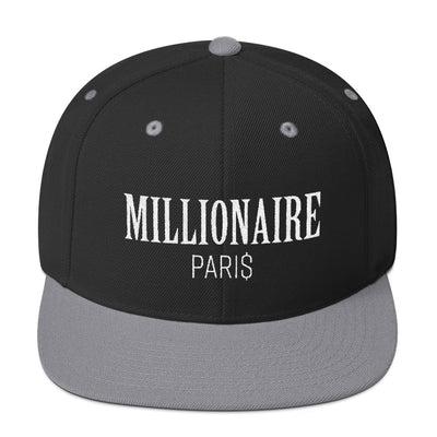 Snapback Hat Black and Grey - Snapback Cap - Millionaire Paris