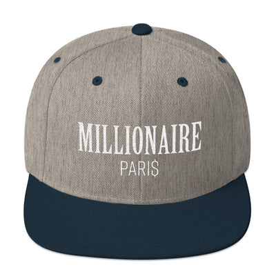 Snapback Hat Heather Grey and Blue Navy - Snapback Cap - Millionaire Paris