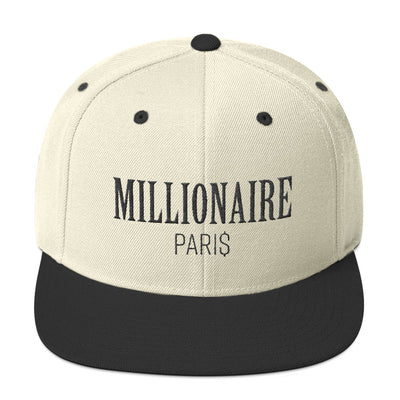 Snapback Hat Natural White and Black - Snapback Cap - Millionaire Paris
