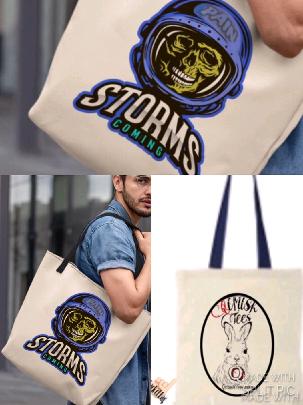 Pain Storms Coming Skull Tote Bag