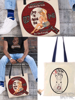 Falling Down the Rabbit Hole Calendar Girl Tote Bag