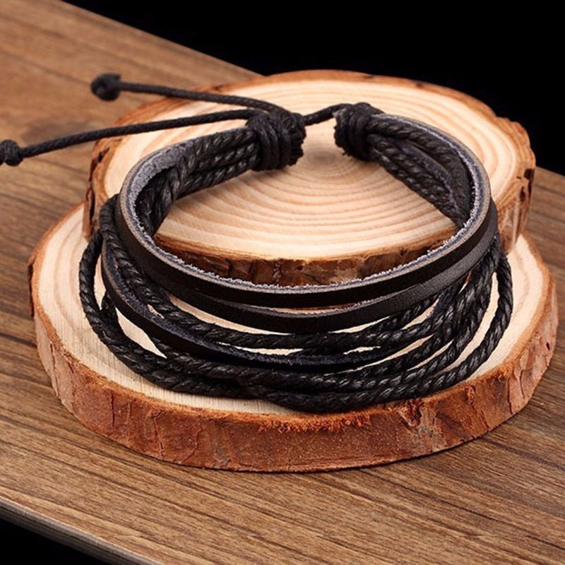 Classic Hand-Woven MultiLayer Leather Wristbands