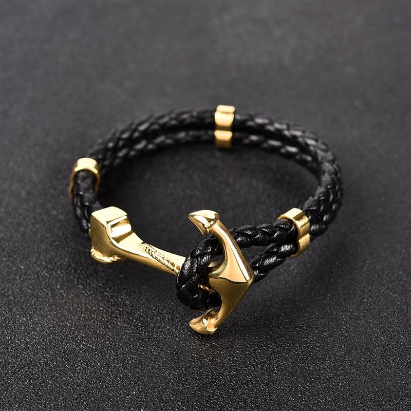 Gold Anchor Leather Bracelet