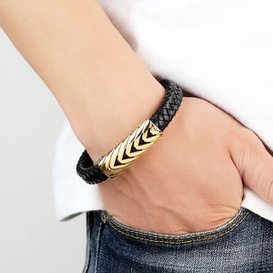 Gold Stylish Leather Bracelet