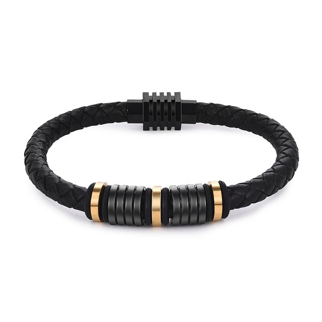 Punk Black Leather Bracelet