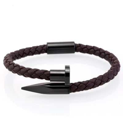 Classic Black Nail Leather Bracelet