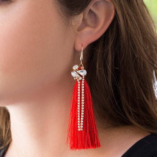 Catherine Malandrino Rhinestone Long Fringe Dangling Earrings (Multiple Color Options)