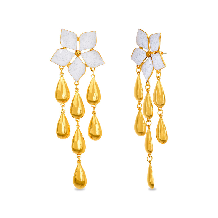 Catherine Malandrino Flower Tier Drop Post Earrings (Multiple Color Available)