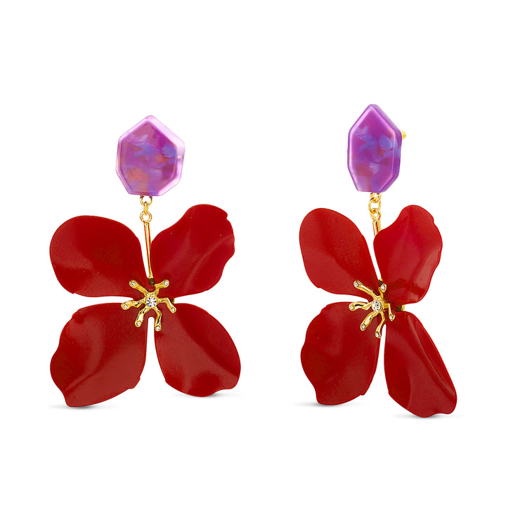Kensie Light Red Flower Purple Stud Large Dangling Earrings