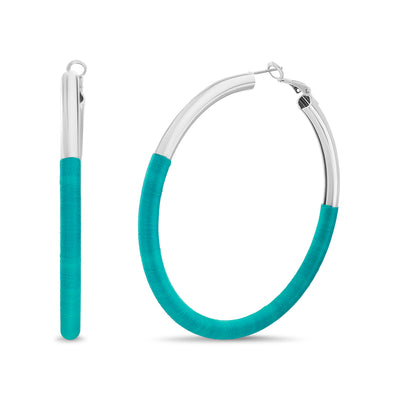 Kensie Silver-Toned and Blue Fabric Wrapped Tube Hoop Earrings