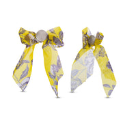 Kensie Yellow Grey Fabric Bow Stud Earrings